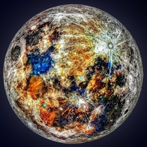 Sacramento-based astrophotography enthusiast Andrew McCarthy extracted color data from  photos of the moon to create this enhanced photo showing all the different splashes of color on the surface left by impacts of different minerals