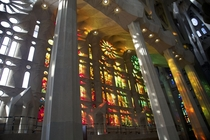 Sagrada Familia - Barcelona Spain - Light shining through the stained glass