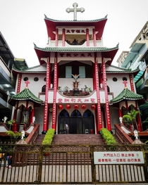 Saint Catherine of Siena Catholic Church with architecture similar to a Buddhist temple in Kaohsiung Taiwan x