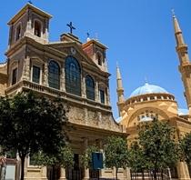 Saint George Cathedral and the Mohammad Al-Amin Mosque in Beirut