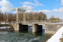 Saint-Jean bridge on the old section of the Canal du Centre Belgium