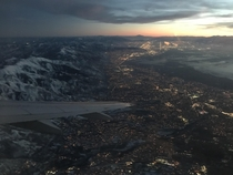 Salt Lake City Utah just after takeoff at dusk Looking South and heading East over the Rockies