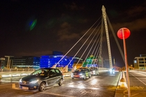 Samuel Beckett Bridge in Dublin Ireland This bridge turns sideways to allow river traffic
