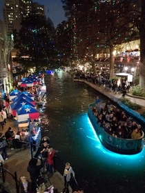 San Antonio Riverwalk on a December night