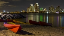San Diego bay after dark