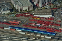 San Diego combined rail yard for trolleys red coastal commuter train blue and a bit of cargo for the nearby port