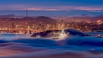 San Francisco California Surrounded by Fog  by Nicholas Steinberg