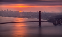 San Francisco California USA I was really worried as the forecast was cloudy but took a risk by waking up early and traveling an hour before the sunrise and was rewarded by this sight writes photographer Farhan