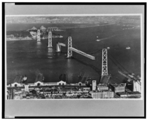 San Francisco-Oakland Bay Bridge under construction early