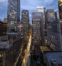 San Franciscos Financial District at rush hour after some rain