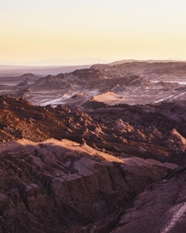 San Pedro de Atacamas Valle de la Luna basking in the glow of the setting sun