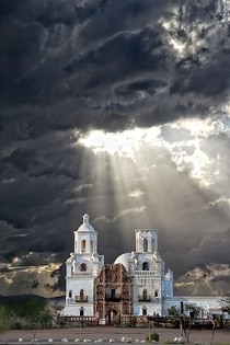San Xavier Mission Tuscon AZ monsoon season