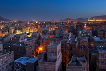 Sanaa the capital of Yemen at dusk