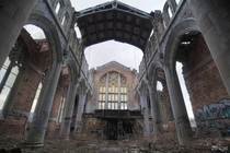 Sanctuary Inside the Long Abandoned City Methodist Church in Gary Indiana