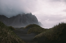 Sand dunes and Fog on the mountains in Hofn Iceland OP x