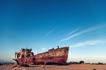 Sand-locked ship in what was once a thriving body of water Uzbekistan dried Aral Sea