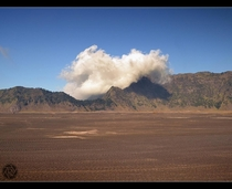 Sand Sea Bromo Volcano area Indonesia