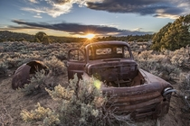 Sands of Time Burying an Abandoned  Dodge B- in Utah