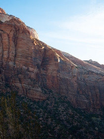 Sandstone cliffs in Zion National Park Utah