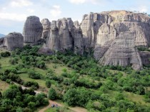 Sandstone pillars Meteora Greece
