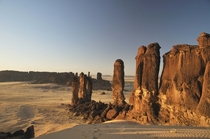 Sandstone towers in the Ennedi desert of Chad Africa  josephescu