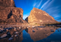 Santa Elena Canyon in Big Bend National Park Texas Mexico is on the left USA is on the right