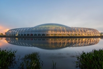 Santiago Calatravas Florida Polytechnic University USA is wrapped by a lightweight aluminum trellis made up of a series of curving columns and surfaces designed to reduce the buildings solar gain by around  percent