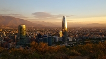 Santiago Chile Reflecting the Sunset from Mirador Pablo Neruda