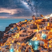 Santorini under the Milky Way