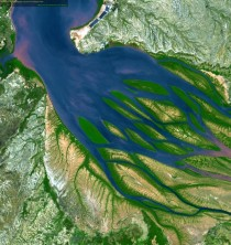 Sapphire waters tinged with pink sediment seem to get tangled amid emerald vegetation in a satellite picture of Bombetoka Bay on the northwestern coast of Madagascar  OS