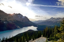 Sat down drank a beer and watched the sunset at peyto lake Doesnt get any better I love the Canadian Rockies