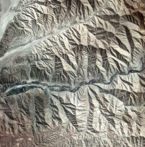 Satellite image of the foothills of the Andes near the southern coast of Peru