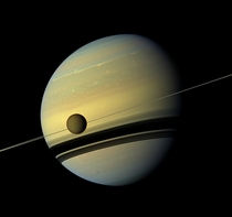 Saturn and its largest moon reflect their true colors
