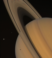 Saturn and some of its moons - August   Credit NASAJPL-CaltechKevin M Gill