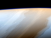 Saturn cloud tops with enhanced color variations to show details  Cassini