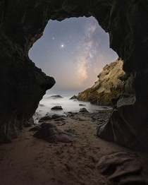 Saturn Jupiter amp Milky Way lined up through a giant sea cave - Malibu Ca  jackfusco