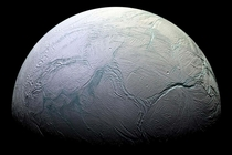 Saturns ice moon Enceladus Image by Cassini NASAJPLSpace Science Institute