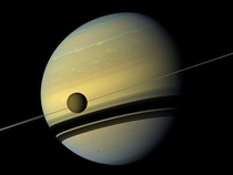 Saturns largest moon Titan captured by the Cassini probe