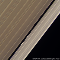 Saturns moon Daphnis making waves in Saturns rings Taken by Cassini Feb   processed by me Res