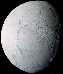 Saturns moon Enceladus with Fresh Tiger Stripes