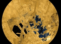 Saturns moon Titan would be unique in our solar system the only world with stable liquid lakes and seas on its surface  except for planet Earth of course This colorized map shows bodies of methane and ethane in blue and black still liquid at frigid temper