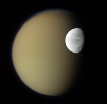 Saturns Moons Dione and Titan from Cassini