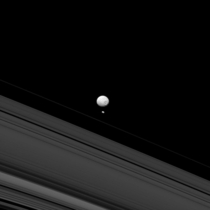 Saturns moons Mimas and Pandora remind us of how different they are when they appear together