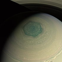 Saturns North Polar Hexagon in Enhanced Color as seen by Cassini in