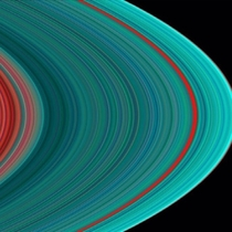 Saturns rings in ultraviolet The ring system begins from the inside out with the DCBA rings followed by the FGE rings The red in the image indicates sparser ringlets likely made of dirty amp possibly smaller particles than in the icier turquoise ringlets