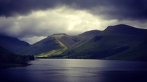 Scafell Pike from Wast Water Cumbria England