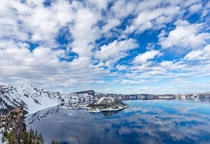 Scattered clouds reflected in Crater Lake OR