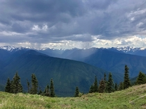 Scattered showers over the Olympic Mountains