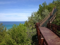 Scenic stop on M- North of Arcadia Bluffs in Michigan
