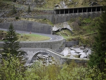 Schllenen Gorge near Andermatt Switzerland - roads avalanche sheds and bridges